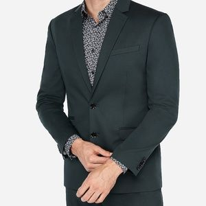 NEW EXPRESS $298 GREEN SLIM COTTON STRETCH SUIT